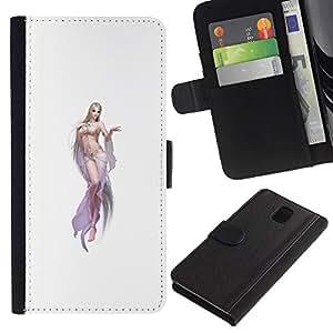 KingStore / Leather Etui en cuir / Samsung Galaxy Note 3 III / Femme Blanche Lingerie Jambes Chick