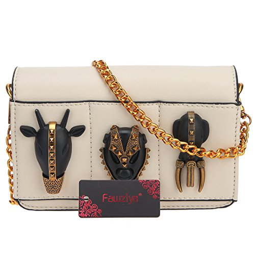 Clutch For Clutches Beige Animal Chain Pu Evening Leather Purse Prom Fawziya wt0Aaqq