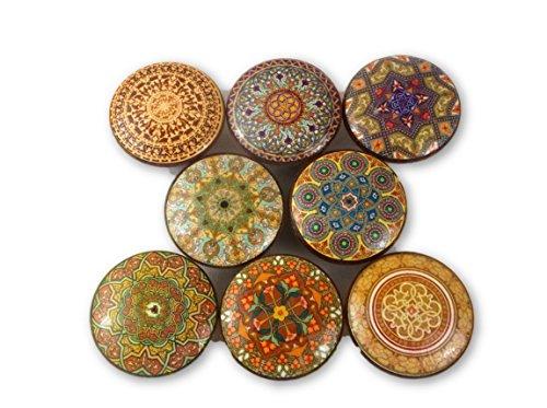 - Set of 8 Oriental Mandala Earthtone Cabinet Knobs