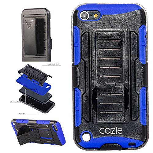 iPod Touch, Extreme Protection Heavy Duty Hybrid 3 Layer Belt Clip Holster Case with Build in Kickstand for Apple iPod Touch 6th Gen 5th Gen by Cazle (Blue)