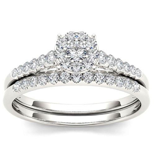 De Couer 10k White Gold 1/2ct TDW Diamond Cluster Engagement Ring Set(H-I,I2)