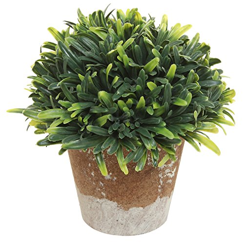 MyGift 5 Inch Mini Artificial Plant in Rustic Style Brown Ceramic Planter Pot Container