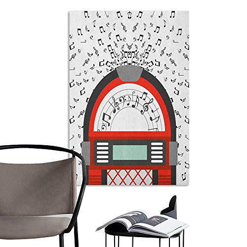 (Canvas Wall Art Jukebox Cartoon Party Music Antique Old Vintage Retro Box with Notes Artwork Red Black Grey and White Decoration The Decorations Living Room W24 x)