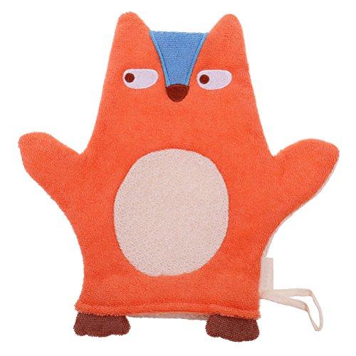 JUNKE Soft Baby Bath Glove Towel Cute Cartoon Puppet Orange