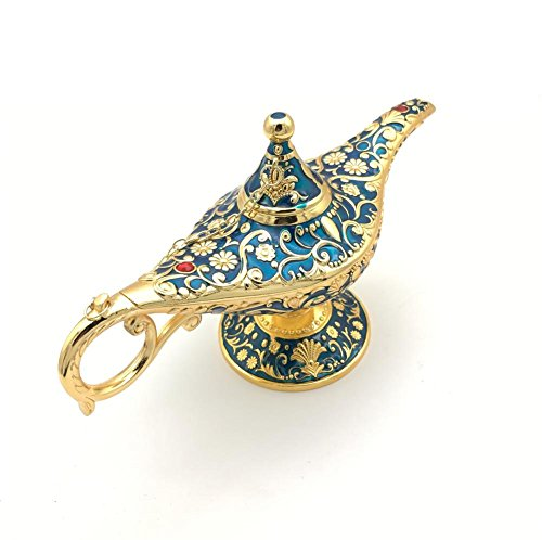 W.D Perfect Festival Gift Legend Aladdin Magic Genie Lamps Incense Burners (Golden Blue)