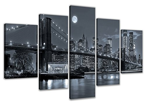 Canvas Art New York bridge Night View Ready to Hang (Panel Ready Glass)