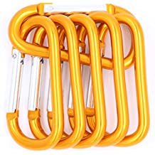 LeBeila 3 Inch Large Spring-Loaded Gate Carabiners - 6 Pack D Shape Carabiner Clip Light Aluminum Alloy Quick Draw D-Ring Buckle Hooks For Home RV Camping Fishing Hiking Traveling Keychain