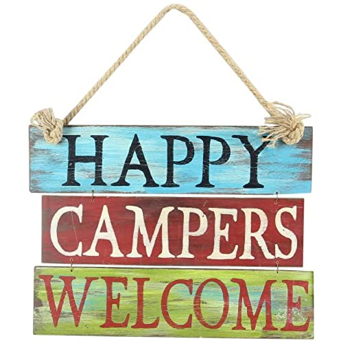 Youngs Wood Happy Campers Wall Hanging 20 Inch