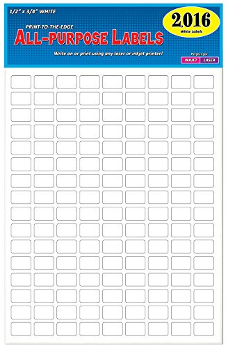 """Pack of 2016, 1/2"""" x 3/4"""" White Rectangle Labels, 8 1/2 x 11 Inch Sheet, Fits All Laser/Inkjet Printers, 144 Labels per Sheet, 0.5 x 0.75 Inches"""