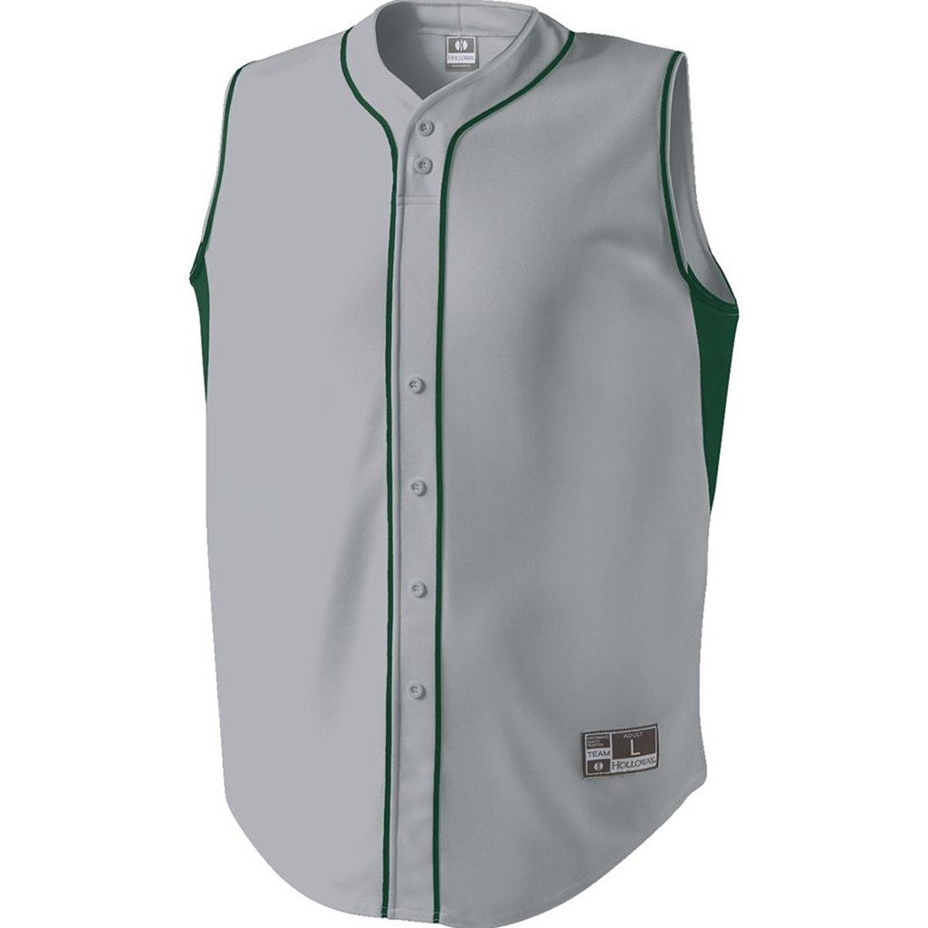 Holloway Adult Fierce Dry Excel Baseball Jersey (Small, Blue Grey/Forest)