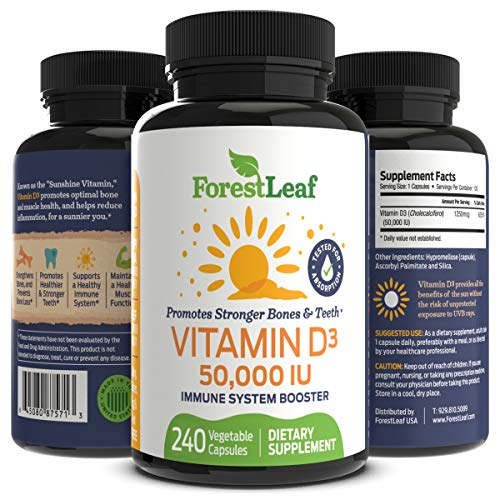 Vitamin D3 50,000 IU Weekly Supplement - 240 Vegetable Capsules - Helps Boost and Strengthen Bones, Teeth, Immune System and Muscle Function - by ForestLeaf