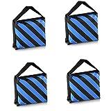 PhotoTrust 4Pack Blue Heavy Duty Sandbag Sand Bag Saddlebag Weight Bags Saddle Bag Holds 20 LBS for PHOTO VIDEO STUDIO STAND
