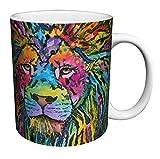 Dean Russo Lion Modern Animal Art Porcelain Gift Coffee (Tea, Cocoa) 11 Oz. Mug