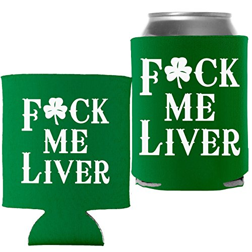 - St Patricks Day Decoration Beer Can Cooler - Fck Me Liver - Kelly - 1 Pc