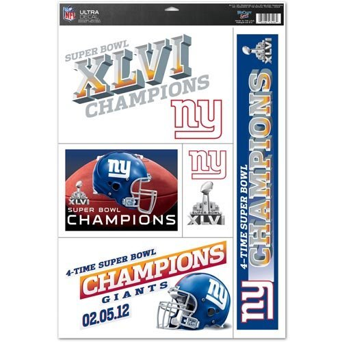NFL New York Giants Super Bowl XLVI Champions 11'' x 17'' Ultra Decal Window Clings Sheet ()