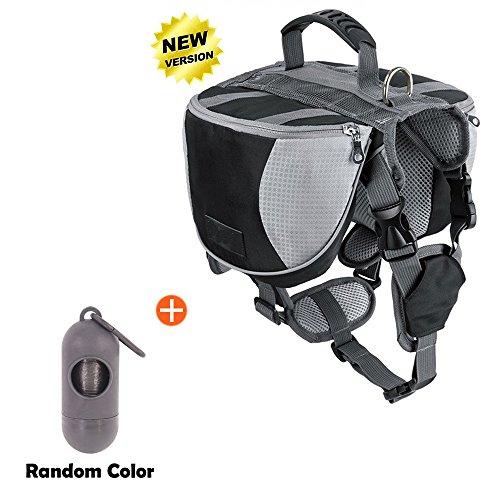 Lifeunion Adjustable Service Dog Supply Backpack Outdoor Hiking Saddle Bag/Dog Poop Pick up Bags Holder Pet Waste Bags Dispenser Includes 15 Poop Bags (Black Backpack Set, Medium) Dog Saddlebag