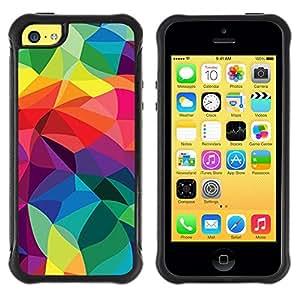 Fuerte Suave TPU GEL Caso Carcasa de Protección Funda para Apple Iphone 5C / Business Style Polygon Lines Vibrant Os Colorful