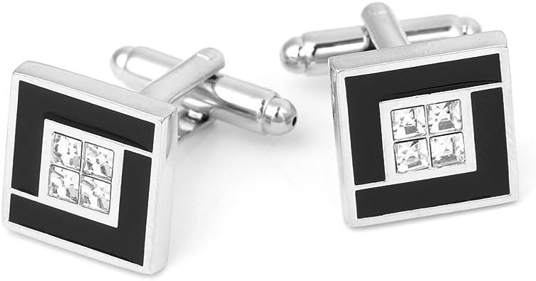yaonow - Gemelos para Camisa de Boda con Diamantes de imitación de Lujo para Hombre: Amazon.es: Joyería