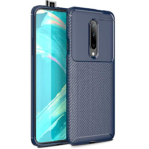 FINON Carbon Design Model [ TPU ] for OnePlus 7 Pro (2019) Case - Fingerprint Prevention Function and Lightweight Soft case, Shock Resistance, Easy desorption, Stylish Design - Blue (Best Phone Deal Black Friday 2019)