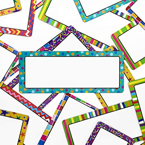Juvale 36-Pack Dry Erase Magnetic Name Tag Plates, Classroom Labels, Assorted Designs, 5 x 2 Inches (Magnetic Name Tags)