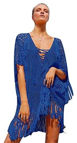 Nuovo da donna a maglia con frange Lace Up Front Beach cover Up Swimwear Beachwear estate Caftano taglia UK 10–14EU 38–42