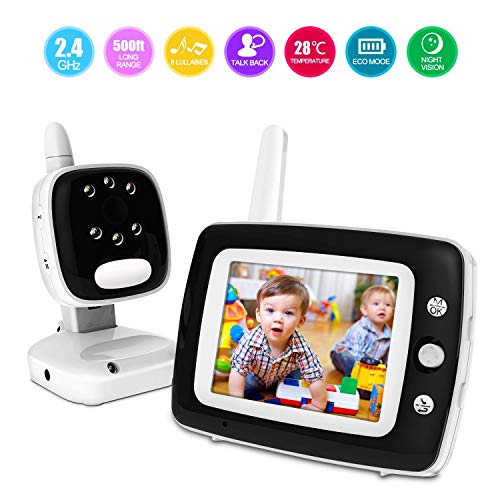 Digital Video Baby Monitor with Camera and Audio, 3.5 Inch LCD Screen, Infrared Night Vision Soothing, Lullabies, Temperature Monitoring and Two-Way Talk Video Monitor Review