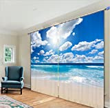 LB 2 Panels Room Darkening Thermal Insulated Blackout Window Curtains,Blue Sky and White Cloud 3D Effect Print Living Room Bedroom Window Drapes,80 Inch Width by 84 Inch Length