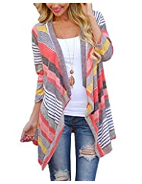 16-28 Womens Plus Size Color Stripe Open Front 3/4 Sleeve Knit Sweater Cardigans