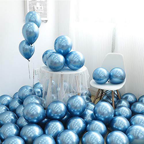 HMQD 40Pcs 12'' Blue Metallic Chrome Balloons,Helium Shiny Latex Balloons for Birthday Party Wedding Baby Showers Graduation Decoration (Light Blue And Brown Baby Shower Decorations)
