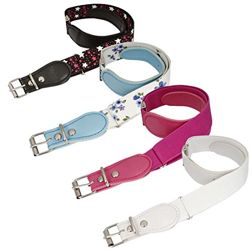 - BMC Girls 4pc Flower And Star Adjustable Elastic Band With Leather Loop Belt Set