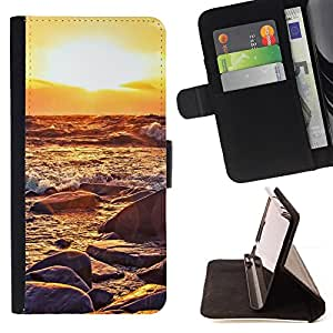 Jordan Colourful Shop - Sunset Waves For Apple Iphone 5 / 5S - Leather Case Absorci???¡¯???€????€???????????&A