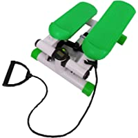 Mini Stepper Exercise Stepper Machine Legs Arms Thigh Toner Toning Machine Workout Training Fitness Stair Steps with Digital Display and Ropes(Green) Free Skipping Ropes
