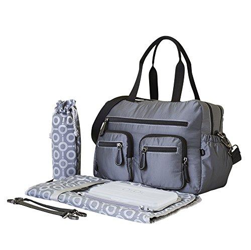 OiOi Micro Cuadros Carry All bolso para pañales y cambiador, color gris