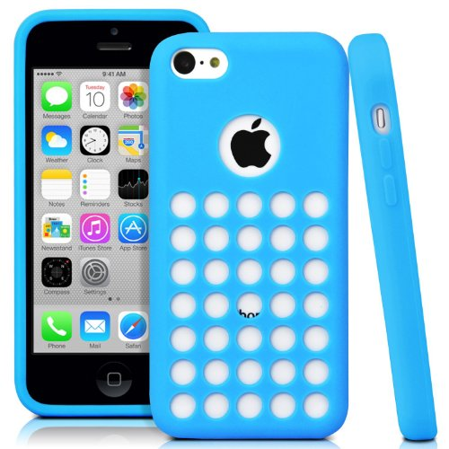 Oddless Entities® Slim Fit Polka Dot Hole Design Silicone Rubber Case for iPhone 5c (Light Blue)