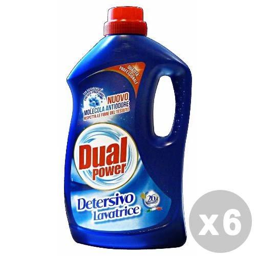 Dual Power Set 6 Detersivo Lavatrice Liquido 26 lavaggi antiodore 1, 68 lt.