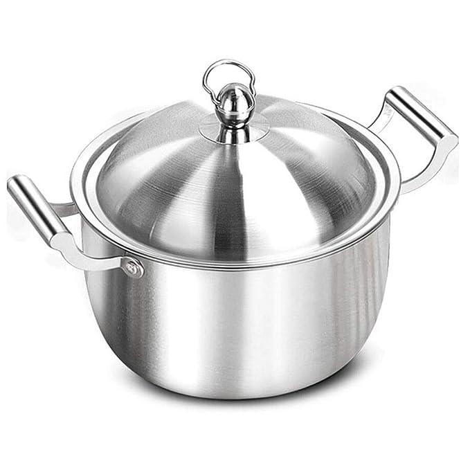 Cazuela Olla Profunda para Sopa 304 Acero Inoxidable Grueso Gran Capacidad Alta Temperatura Gachas de Avena Estofado Sanitario Doble Fondo Cocina de ...