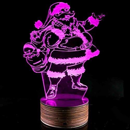 Novelty Lamp, Night Light 3D LED Lamp Optical Illusion Santa Claus, 16 Color Remote Control Changes, with USB Charging Connector, Children's Gift Toys,Ambient Light by LIX-XYD (Image #4)