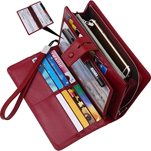 (Lavemi Big Fat Rfid Blocking Leather Checkbook Credit Card Holder Wallets Clutch for Women with Wristlet Strap(Dark Red))