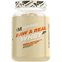 Bigmuscles Nutrition Raw & Real Organic Whey Protein [1kg] - Natural, 80% Protein, Additive Free, Unflavored, 24g Protein ,5.5g BCAA , 4g Glutamine per serving