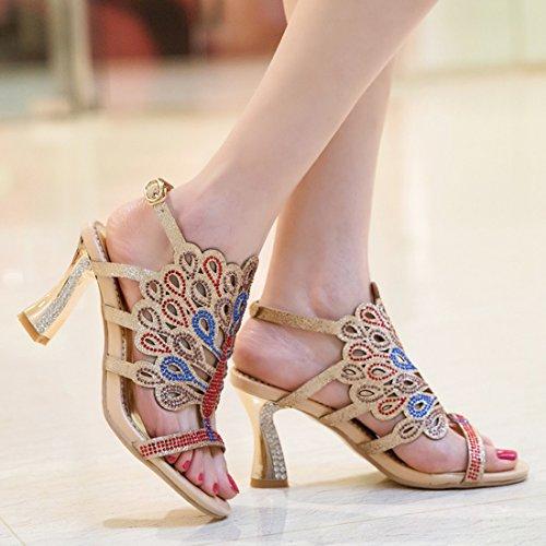 YE Damen Offene High Heels Plateau Slingback Sandalen Glitzer Pumps mit Schnalle und Strass 8cm Absatz Elegant Schuhe Gold