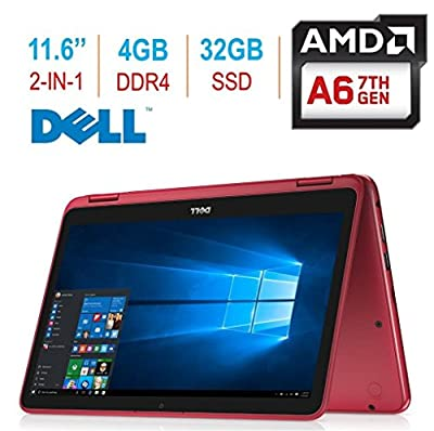 "2018 Newest Dell Inspiron 3000 11.6"" 2-in-1 Touchscreen Laptop/Tablet PC, 7th Gen AMD A6-9220e 2.5GHz Processor, 4GB 2400MHz DDR4, 32GB SSD, Bluetooth, WiFi, MaxxAudio, Windows 10-Red"
