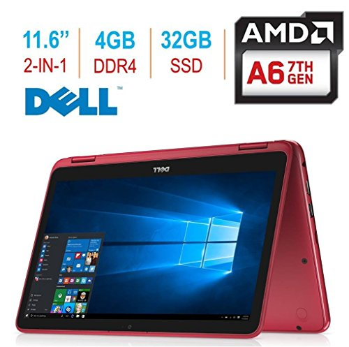 "Dell i3185-A982RED 2018 Newest Inspiron 3000 11.6"" 2-in-1 Touchscreen Laptop/Tablet PC, 7th Gen AMD A6-9220e 2.5GHz Processor"