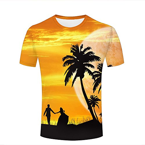 guangtumiao Mens Stylish Casual Design 3D Printed Twilight/Coco and Lover Pattern Short Sleeve T Shirts Tees XXL -