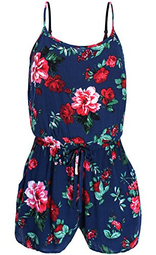 Ladies' Code Sleeveless Floral Print Romper with Side Pockets, Lcrj002 Navy, Large
