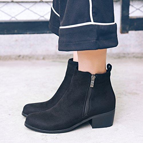 AIYOUMEI Damen Blockabsatz High Heels Stiefeletten mit Reißverschluss Chunky Heel Ankle Boots Schwarz