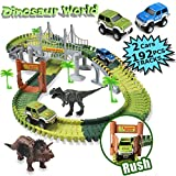 MIECOO Slot Car Race Track Sets Dinosaur Car Toys Create a Road with 192 Pcs Flexible Tracks, 2 Cars, 2 Dinosaurs, Perfect Birthday for Boys Girls Toddlers Aged 3+