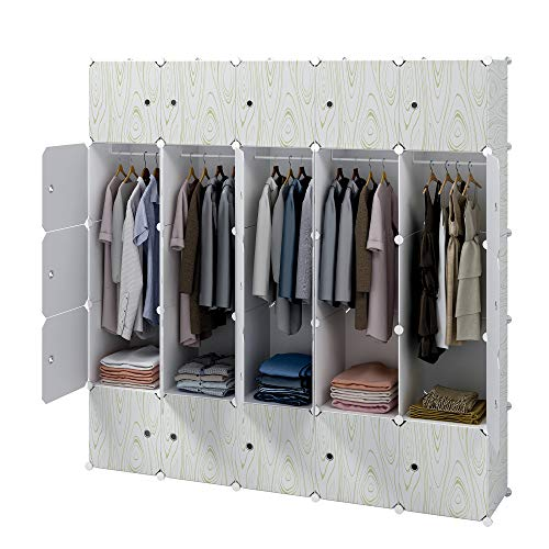 KOUSI Portable Closet Wardrobe Closets Clothes Wardrobe Bedroom Armoire Storage Organizer with Doors, Capacious & Sturdy, 10 Cubes 5 Hanging Clothes ()