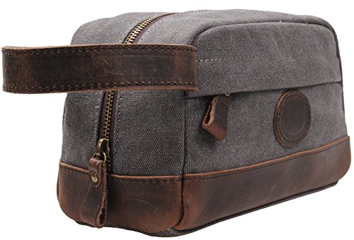 MSG Vintage Leather Canvas Travel Toiletry Bag Shaving Dopp Kit #A001 (Grey) (Toiletry Leather Bag)