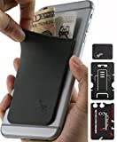 Phone Wallet - Adhesive Card Holder - Cell Phone Pouch - Stick on Lycra Pocket by Gecko - Carry Credit Cards and Cash - with Phone Stand – GRAY BLACK