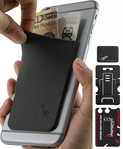 Phone Wallet - Adhesive Card Holder - Cell Phone Pouch - Stick on Lycra Pocket by Gecko - Carry Credit Cards and Cash - with Phone Stand – GRAY BLACK by Gecko Travel Tech